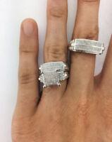 Diamond Wedding 14K White Gold Over Trio His Her Bridal Engagement Band Ring Set