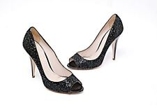 "MIU MIU Black Sequin Sparkly 4"" Black Patent Heel/Pump Open Toe MINT 40/US10"