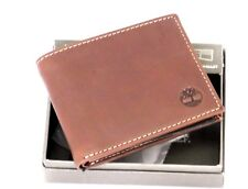 TIMBERLAND Men Genuine Leather Horizontal Passcase Flipfold WALLET NIB Brown