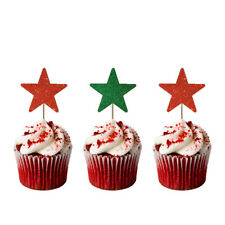 Christmas Star Cupcake Toppers - Pack of 10 - Glittery Red and Green Xmas