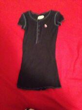 EUC Girls abercrombie 5 Button Henley Navy Blue Shirt Size Small