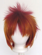 13'' Spiky Short Crimson Red and Copper Brown Striped Synthetic Cosplay Wig NEW