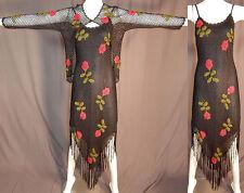 Vintage Sue Wong Knit Studio Black Crochet Fringe Red Roses Boho Dress & Jacket