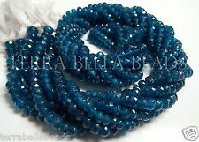 "7"" strand deep teal blue APATITE faceted rondelle gem stone beads 5mm"