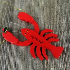 """Christmas Ornament  JUMBO WOOD LOBSTER 8.25/""""L X 6/"""" W  Jute Rope for Hanging"""