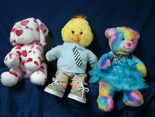 Lot 3 Build a Bear Tie Dye Rainbow Bear Easter Chick Heart Valentine Dog