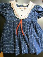 Vintage Blue/White Polka Dot Sailor Embroidered Toddler Girl Dress - Size 4