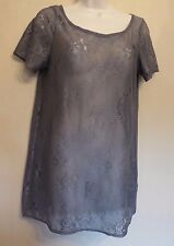 Warehouse UK12 EU40 US8 grey lace sheer short-sleeved top
