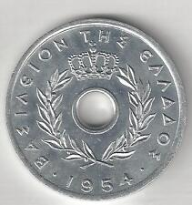 GREECE,  1954,  10 LEPTA, ALUMINUM,  KM#78,  CHOICE BRILLIANT UNCIRCULATED