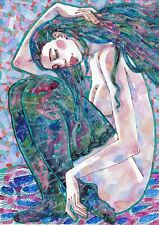 original drawing A3 332RM art by samovar woman nude watercolor 2020