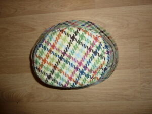 Coach Hat S M Wool Blend Tweed Multicolor  Houndstooth Buckled Leather Trim