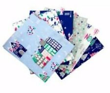 100% Cotton Fat quarter Bundle, Christmas Village theme, blue, white, grey, pink