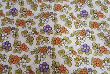 Tessuto Cotone Stampato Fiorellini Ceramica Tun Arancione Verde Sabbia al Metro