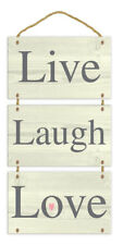 Wooden Hanging Plaque Live Laugh Love Message Home Decoration Chic House Rope