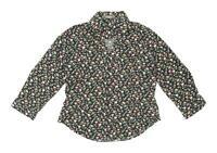 TM Lewin Womens Size 12 Floral Cotton Black Shirt (Regular)