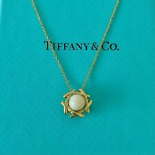 """Tiffany & Co. 18k Yellow Gold Signature Pearl Pendant Necklace 19"""" W/Packagings"""