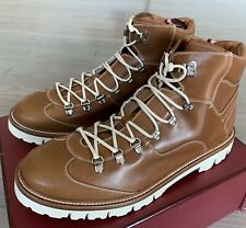 $1,200 Bally Charls 24 Tan Leather Hiker Boots Size US 13 Made in Switzerland