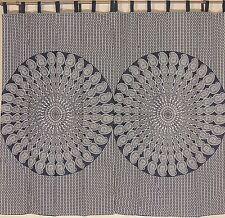 "Black Paisley Mandala Curtains 2 Cotton Print India Window Treatments Panels 82"""