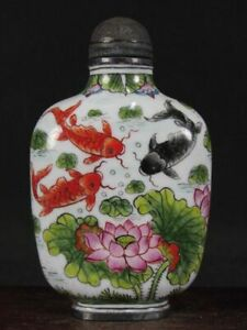 Chinese Carps Lotus Flower Hand Painted Copper Enamel Snuff Bottle