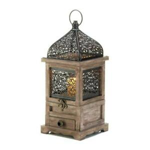 Rustic Brown Flip-Top Moroccan Metal Candle Holder Light Lantern w/ Drawer