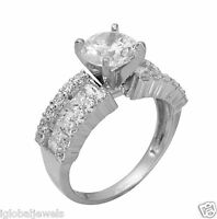 3.00 Ct 14K White Gold Cathedral Set Fancy Round Engagement Propose Promise Ring