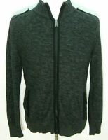 DKNY JEANS Men's Dark Gray Long Sleeve Full Zip Cardigan Sweater (Size LARGE)