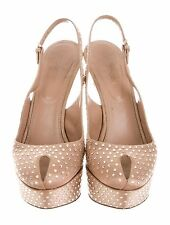 Auth RUNWAY Red Carpet SERGIO ROSSI Cachet CRYSTAL Rhineston NUDE Slingback SHOE
