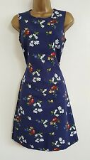 NEW WAREHOUSE Blue White Floral Print Fit & Flared Shift Dress Wedding Occasion