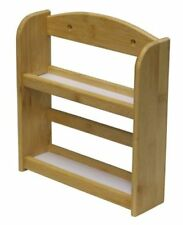 BAMBOO 2 TIER WOODEN HERB SPICE RACK HOLDER STAND WALL MOUNTED 10 JAR SHELF
