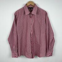 Ben Sherman Mens Button Up Shirt Size 2XL Red White Stripe Long Sleeve