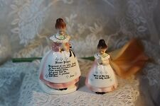 Vintage PINK Enesco MOTHER IN KITCHEN Prayer Lady Pepper Shaker & Napkin Holder