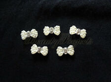 (5pcs) white 3D pearl bow charm rhinestone nail art charms nails acrylic gel A78