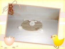 ☼ - Doudou Semi Plat Rond Mouton Beige Blanc Rayé by Petit Kimbaloo