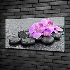 Glas-Bild Wandbilder Druck auf Glas 100x50 Blumen & Pflanzen Orchideen Steine