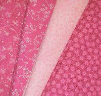 Pink Color Fat Quarter #1 | Fabric | Precut Quilting Cotton | Set of 4