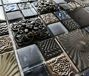 ANCIENT DESIGN 3D HIGH RELIEF TEXTURED STONE METAL GLASS MOSAIC WALL TILES