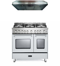 "Verona Prestige Vpfsgg365Dw 36"" All Gas Range Double Oven Hood True White"