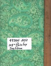"""49374-A02, 108"""" EXTRA WIDE QUILT BACKING, BY THE YARD,  PAISLEY - SEAFOAM"""