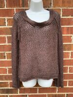 Free People Brown Boho Open Chunky Knit Sweater Size Small Bohemian Tunic Jumper