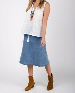 Stretch Denim Flared Skirt - Palewash Panelled  Midi Skirt (KimPW)