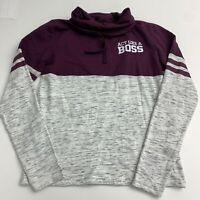 On Fire Hooded Sweatshirt Top Women's XL Gray Purple Knit Cowl Neck BOSS