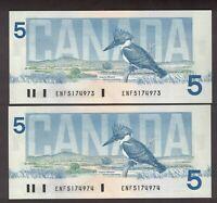 2 CONSECUTIVE CANADA 1986 $5 CROW BOUEY BANKNOTES SERIAL ENF5174973,974 GEM UNC