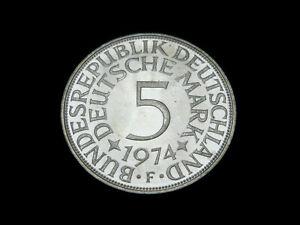 BRD. 5 DM, 1972 G, Kursmünze, Silber, orig., f/St.!