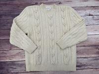 Susan Bristol Fisherman Cable Knit Women's Ivory Sweater Large 100% Wool Vintage