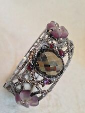 ALEXIS BITTAR PINK PURPLE LUCITE FLOWER Bracelet SILVER ACCENTS - HINGED