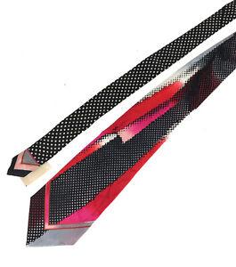 NWT WILD Vitaliano Pancaldi 100% Silk Black/Pink/Red/Grey Abstract Tie Mens XL
