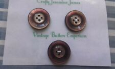 3 Shiny Brown MOP look 4 hole Vintage Sewing Coat Buttons approx 22mm