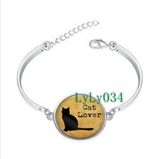 Cat Lover glass cabochon Tibet silver bangle bracelets Fashion