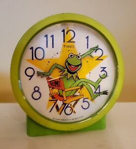 Vintage Kermit the Frog Timex Wind Up Alarm Clock 1982 Sesame Street Collectible