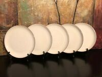 "5 NEW World Market Terra Cotta Large White Coupe Dinner Plates Portugal 11.25"""